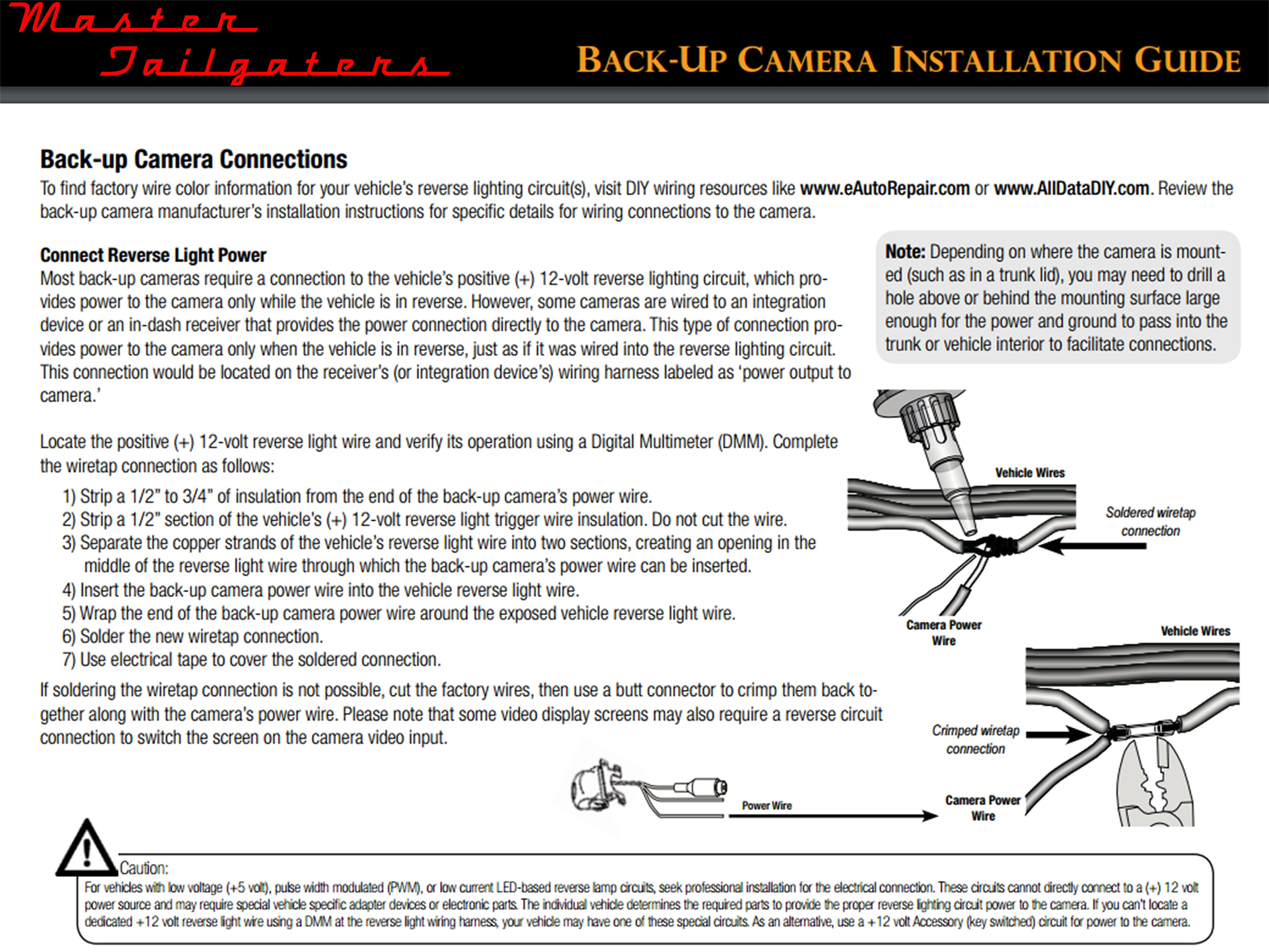 General Installation Instructions – Master Tailgaters on backup cameras for toyota sequoia, backup cameras for camaro, backup cameras accidents vehicles graphics, backup cameras for atvs, backup cameras for suv, backup lights wiring diagram for toyota tacoma, backup cameras for tahoe, generator wiring, backup cameras for trucks,