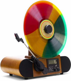 Fuse Vert Vertical Vinyl Record Player with Bluetooth, FM Radio, Alarm - Handcrafted Ashtree Wood