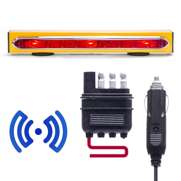 "Wireless Trailer Tow Light Bar 19""- Magnetic Mount - Ultra Bright LED with 4 Pin Flat Hitch Transmitter"