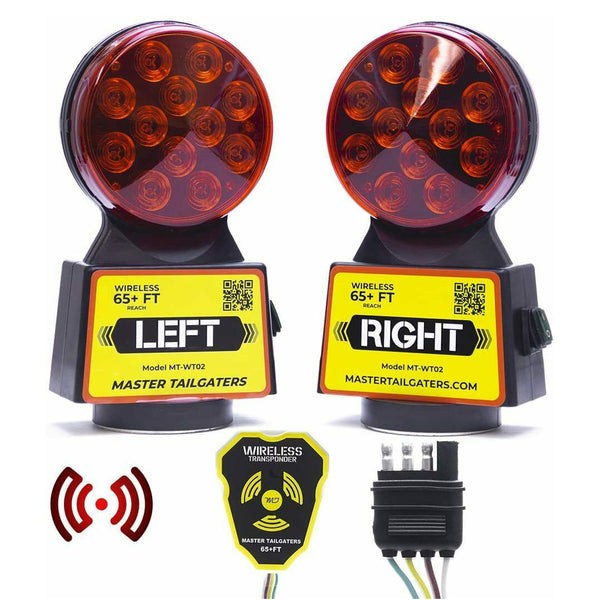 Wireless Trailer Tow Lights - Magnetic Mount - 48 Feet Range - 4 Pin Blade Connection