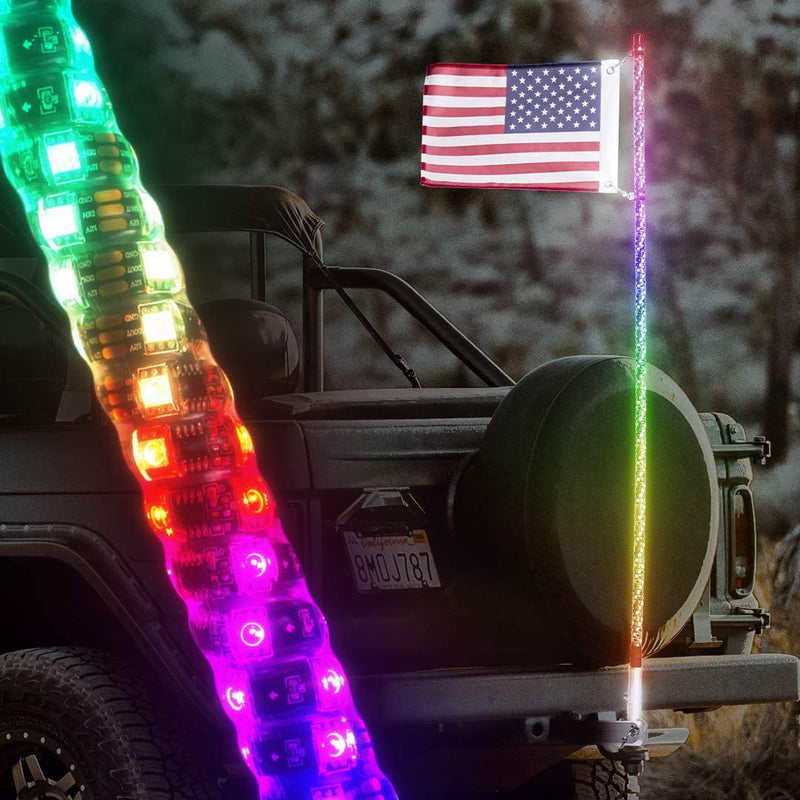 Master Tailgaters Truck Flag Swirl LED Pole + Hitch Mount - Waterproof, Remote, 60 + Functions LED Light