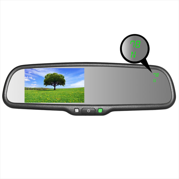 "Master Tailgaters  Compass & Temperature Rear View Mirror with 4.3"" Auto Adjusting Brightness LCD"