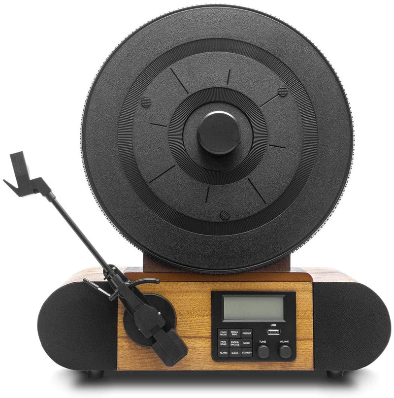 Fuse Vert Vertical Vinyl Record Player with Audio Technica Cartridge + Bluetooth, FM Radio, Alarm - Handcrafted Real Wood