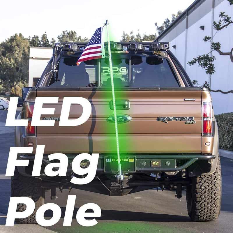 Master Tailgaters Truck Flag Pole 5' foot + Hitch Mount - Waterproof, Remote, 22 Functions LED Light