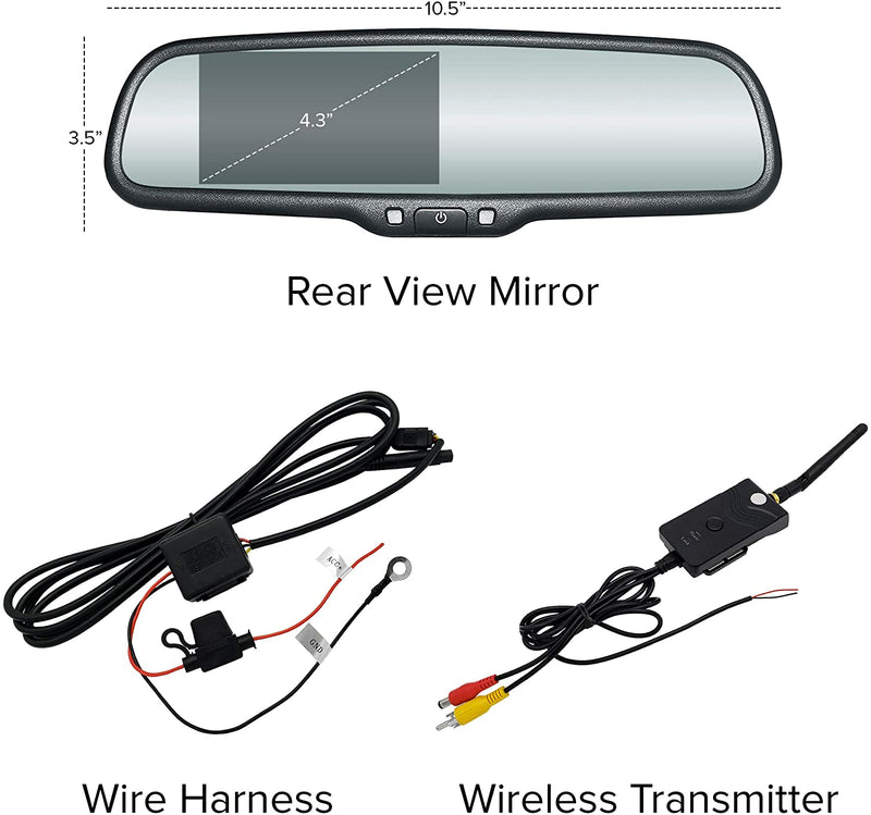 "Master Tailgaters OEM Rear View Mirror with 4.3"" LCD Screen with Wireless Transmitter and Waterproof 170° LED Backup Camera Kit"