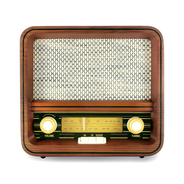 Fuse Vintage Retro Bluetooth AM/FM Radio Speaker + Real Handcrafted Wood Exterior - RAD-V1