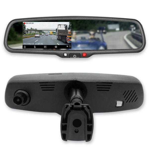 "Master Tailgaters 4.3"" LCD Rear View Mirror with 1080P 30fps HD DVR Dual Way Video Recorder"