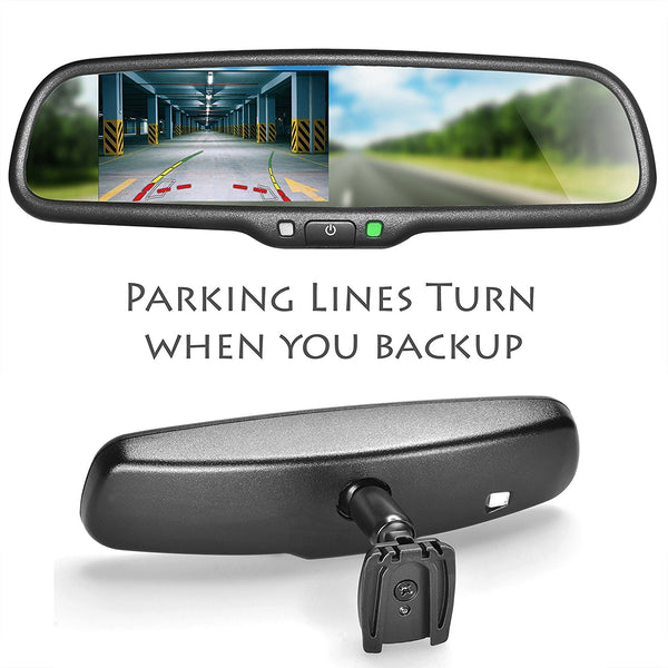 "Master Tailgaters OEM Rear View Mirror with 4.3"" Auto Adjusting Ultra Bright LCD with DYNAMIC Parking Lines - Master Tailgaters"