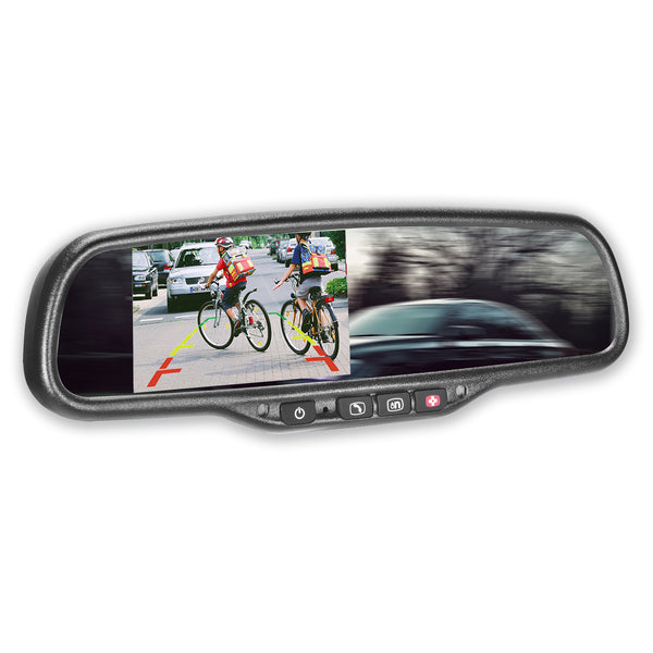 "Master Tailgaters OEM Rear View Mirror with 4.3"" Auto Adjusting Ultra Bright LCD and OnStar Buttons(for backup cameras) - Hooks Into Your Existing OnStar Wire"