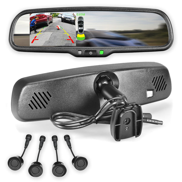 "Master Tailgaters Rear View Mirror with Ultra Bright 4.3"" LCD Display + 4 Parking Sensors Kit"