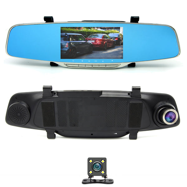 "Master Tailgaters Rear View Mirror Clip on with HD 1080p 140° Dash Cam, 5"" IPS LCD Screen, Collision Sensor, Parking Monitor + FREE Backup Camera - Master Tailgaters"