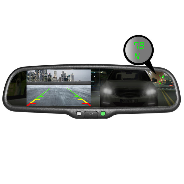 "Master Tailgaters Auto Dim + Compass & Temp Rear View Mirror with Ultra Bright 4.3"" Auto Adjusting Brightness LCD"