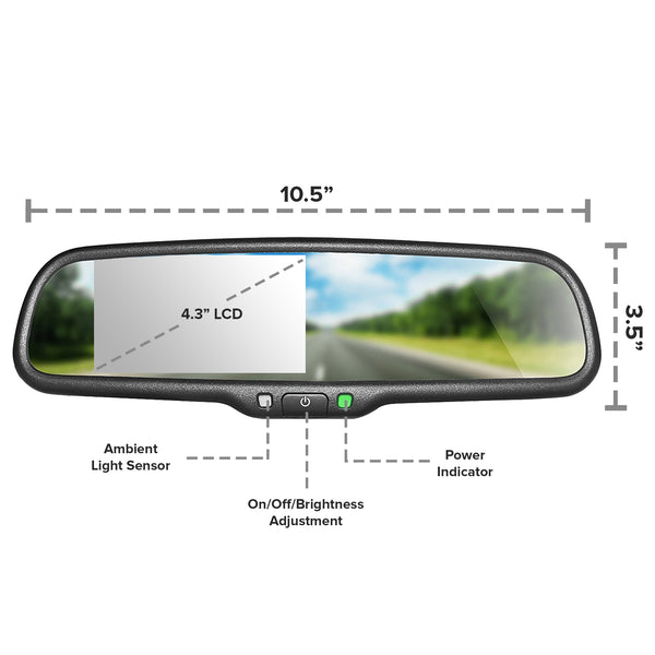 "Master Tailgaters OEM Rear View Mirror with 4.3"" LCD Screen and Waterproof 170° Backup Camera Kit"