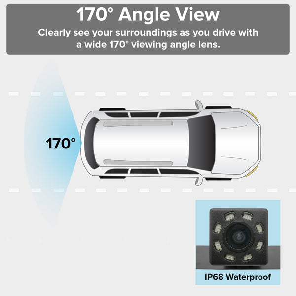 Master Tailgaters Small License Plate Frame Backup or Front Camera with 8  IR LED Night Vision, IP68 Waterproof, and 170° Wide Angle Camera