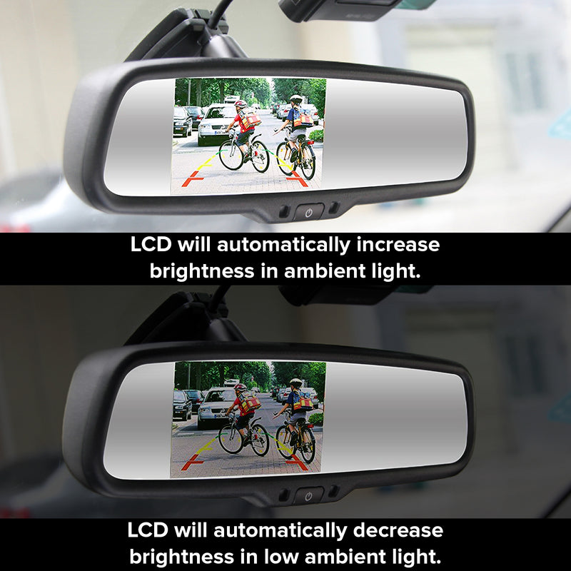 "Auto Dim + Compass & Temp Rear View Mirror with Ultra Bright 4.3"" Auto Adjusting Brightness LCD"