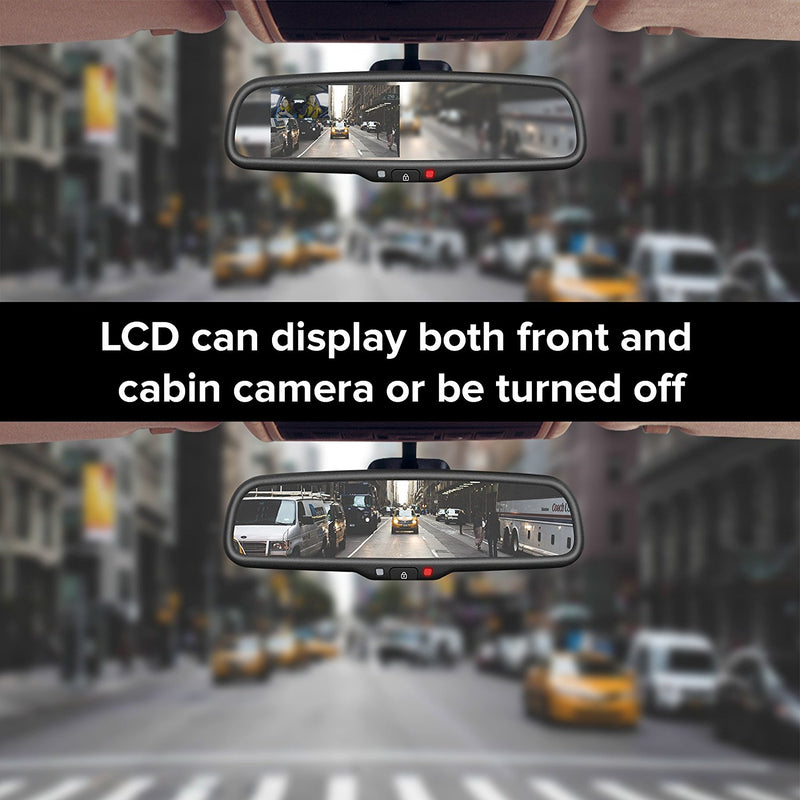 Rear View Mirror with DUAL CAMERA HD DVR Dash Cam with Microphone + wifi app (records forward and inside cabin passengers, perfect for Uber/Lyft)