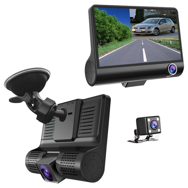 3 Camera Windshield Mount DVR Dash Cam - Records Forward, Cabin & Backup Cameras 4 Inch IPS Screen - Perfect Uber/Lyft / Taxi Drivers