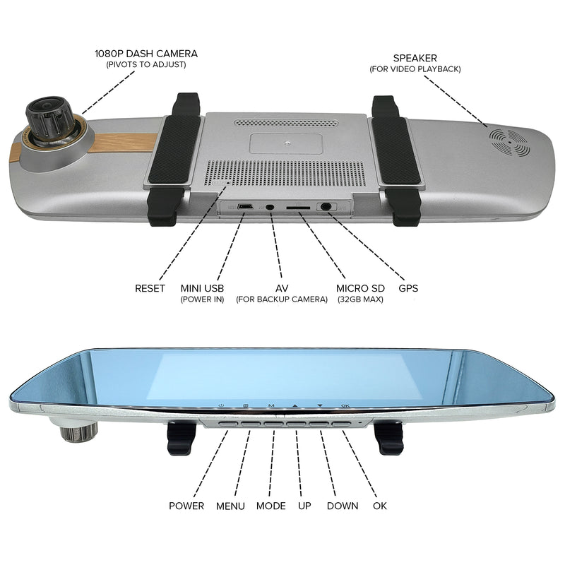 Master Tailgaters Wireless Clip On Rear View Mirror (Touch