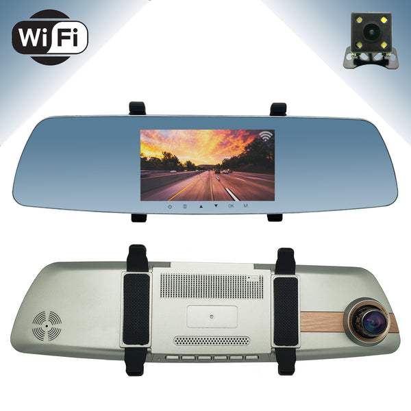 "Master Tailgaters Wireless Clip On Rear View Mirror (Touch Screen) with HD 1080p 170° Dash Cam, 5"" IPS LCD Display, Wireless WiFi, Collision Sensor, Parking Monitor + Free Backup Camera"