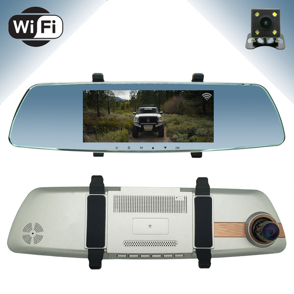 "Master Tailgaters Wireless Clip On Rear View Mirror (Touch Screen) with HD 1080p 170° Dash Cam, 7"" IPS LCD Display, Wireless WiFi, Collision Sensor, Parking Monitor + Free Backup Camera"