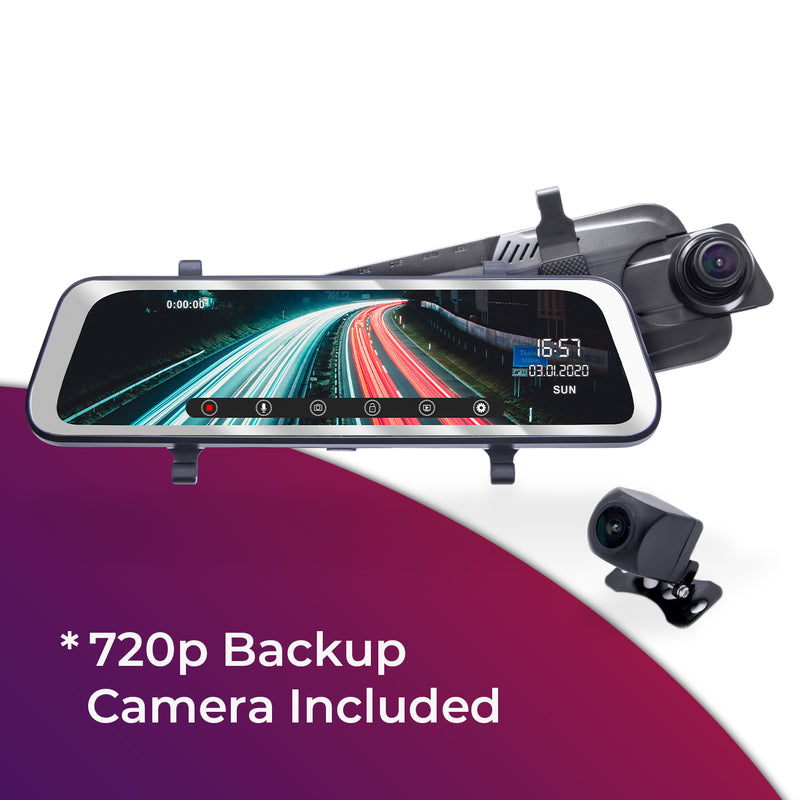 "Master Tailgaters 10"" IPS LCD Clip On RearView Mirror with HD 1080p 170° Dash Camera + 720p Backup Camera"