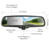 "Master Tailgaters Manual Dimming Rear View Mirror with 4.3"" Auto Adjusting Brightness LCD - Master Tailgaters"