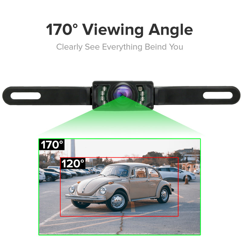 Master Tailgaters Small License Plate Frame Front or Backup Camera with 7 IR LED Night Vision, IP68 Waterproof, and 170° Wide Angle Camera