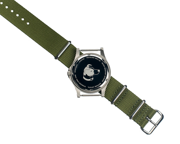 White Dial Saluda Field Watch with Green NATO Strap