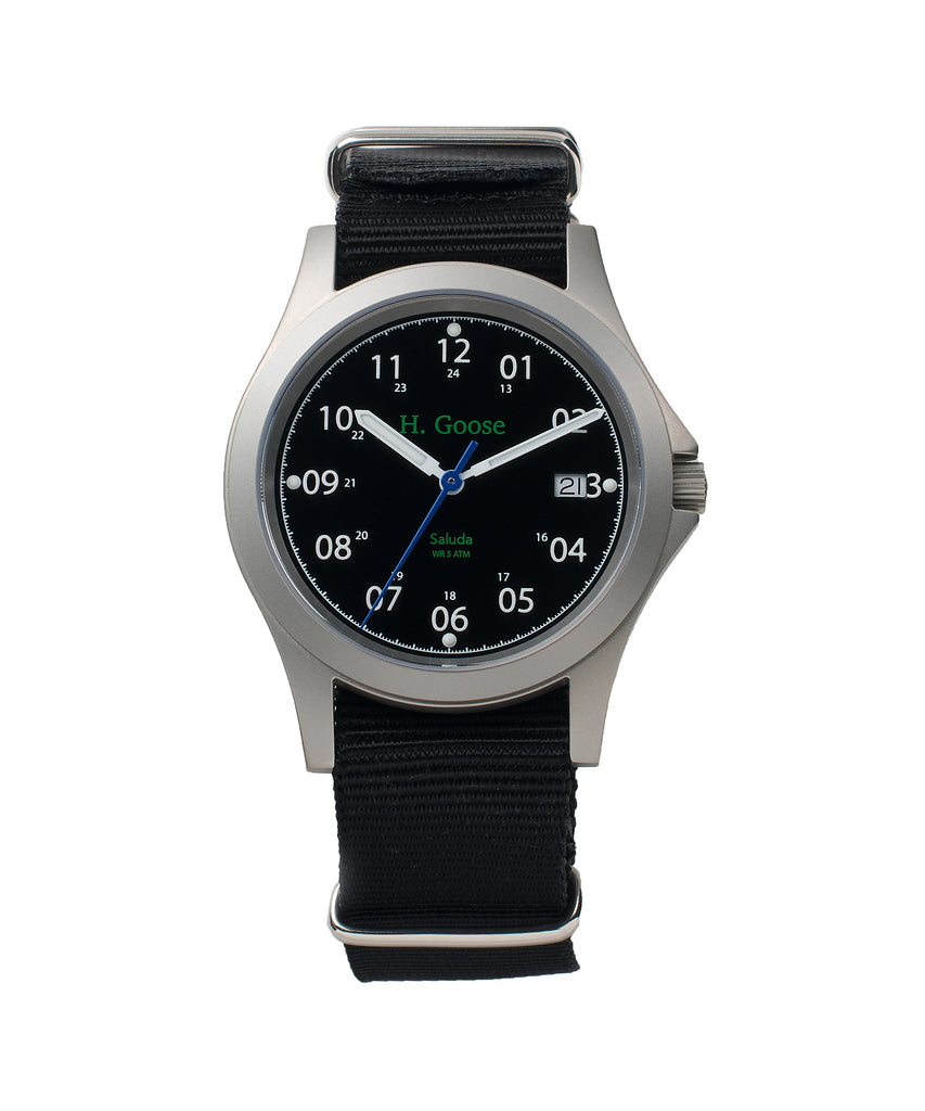 39mm Black Dial Saluda Field Watch with Black NATO Strap
