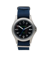 Load image into Gallery viewer, 39mm Black Dial Saluda Field Watch with Blue NATO Strap