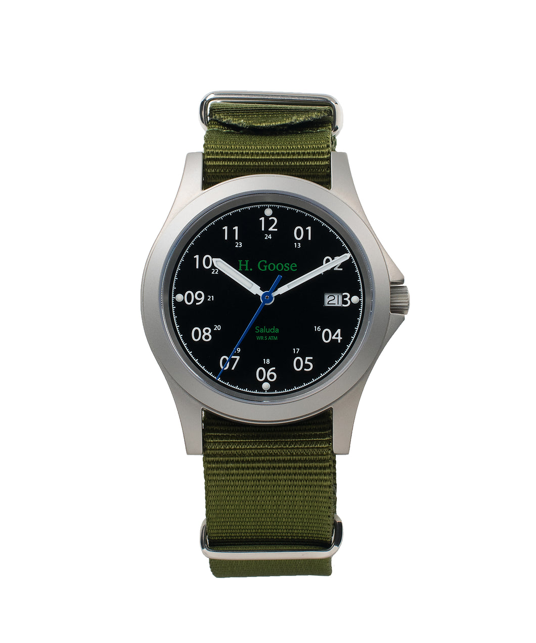 39mm Black Dial Saluda Field Watch with Green NATO Strap