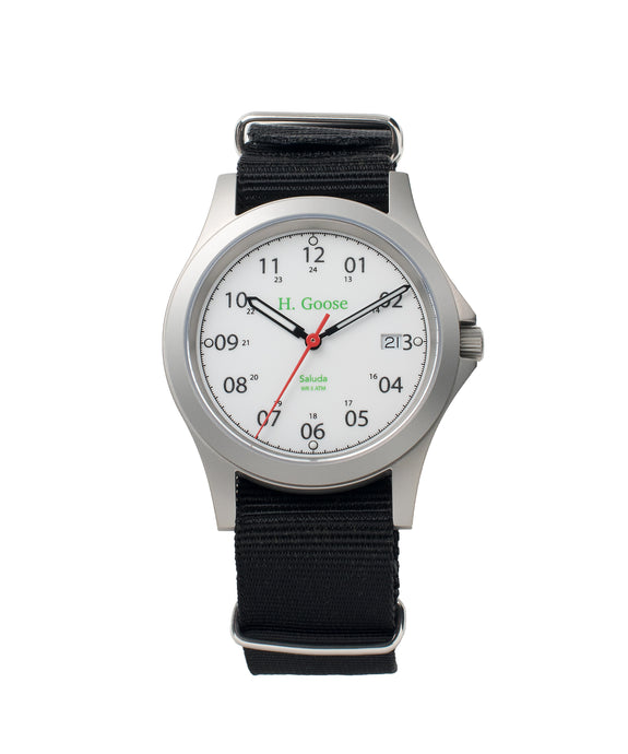 39mm White Dial Saluda Field Watch