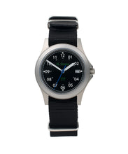 Load image into Gallery viewer, 35mm Black Dial Saluda Field Watch with Black NATO Strap