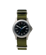 Load image into Gallery viewer, 39mm Black Dial Saluda Field Watch with Green NATO Strap