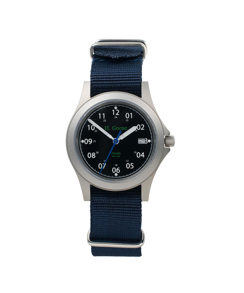 35mm Black Dial Saluda Field Watch with Blue NATO Strap