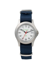 Load image into Gallery viewer, White Dial Saluda Field Watch with Blue NATO Strap