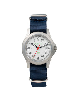 White Dial Saluda Field Watch with Blue NATO Strap