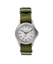 Load image into Gallery viewer, White Dial Saluda Field Watch with Green NATO Strap