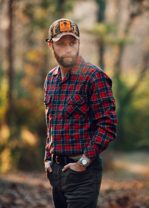 Pellett Work Shirt - Red Olive Indigo Plaid