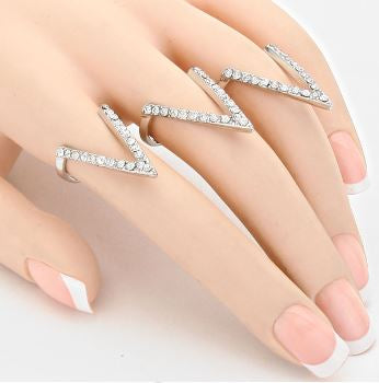 Chevron Rhinestone Rings
