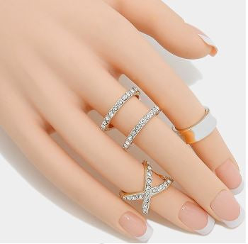 Diamond Cross Rings Silver