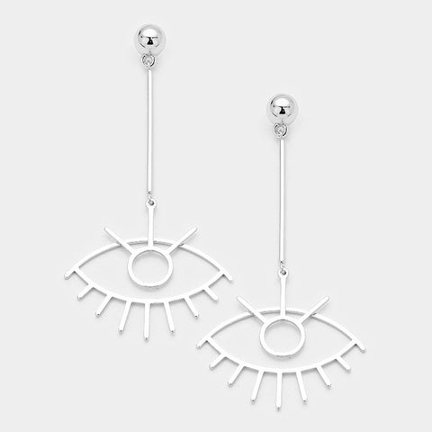 Drop Eye Earrings in Silver