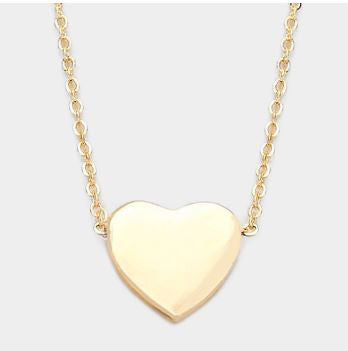 Metal Heart Necklace Gold