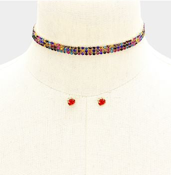 Colorful Rhinestone Choker
