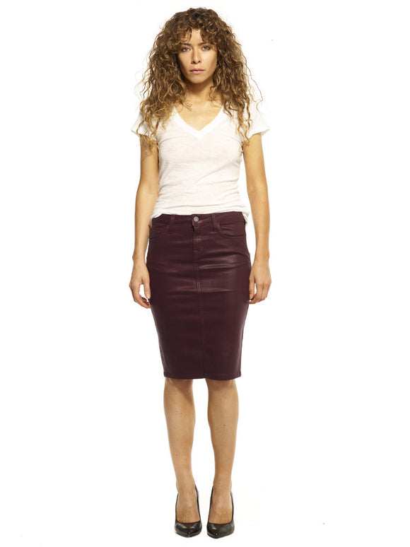 Burgundy Wax Pencil Skirt