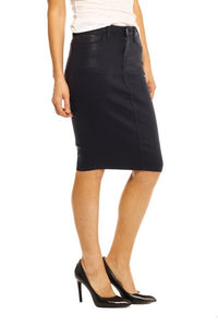 Navy Wax Pencil Skirt Maternity