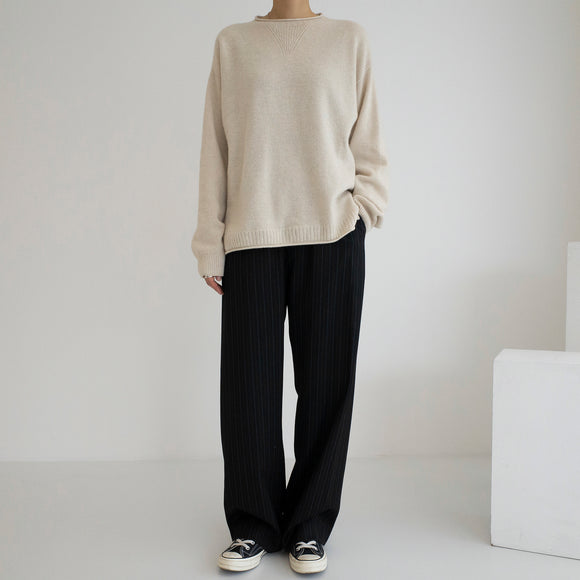 Cashmere Roll Neck Pullover - Oatmeal