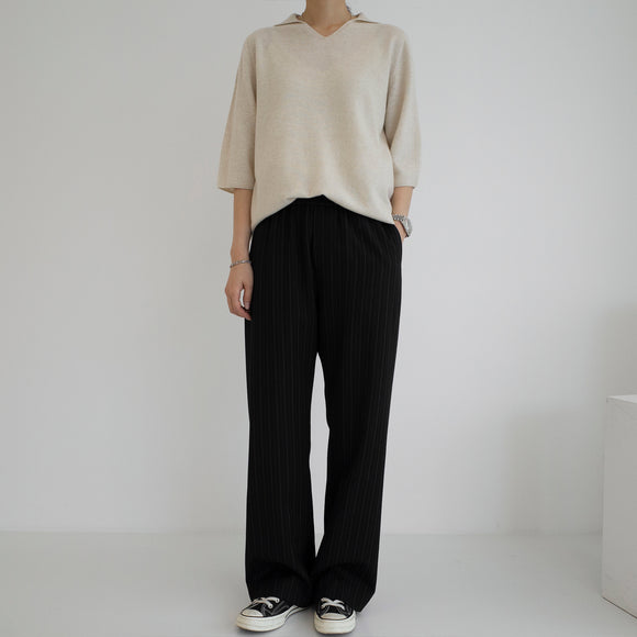 Open Collar Pullover - Oatmeal