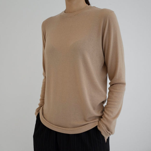 Atto Long Sleeve Top - camel