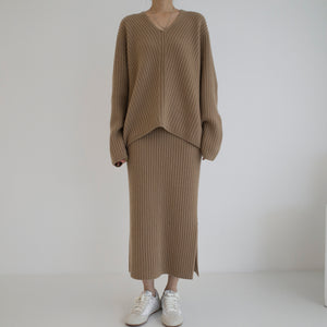 Cashmere Rib Skirt - Brown